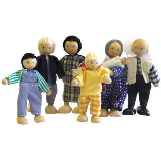 WOODEN FAMILY PEOPLE DOLLS FOR 1 12th SCALE HOUSE TOYS DOLLSHOUSE NEW
