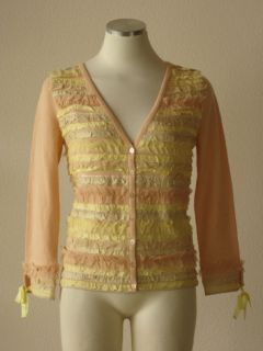 Anthropologie HWR pink layered lace & silk ruffle v neck cardigan