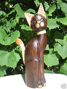 20 Wooden Wood Hand Crafted Carved Made Garden Art Cat Statue Decor