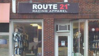 New Route 21 Racing White Blue Black Leather Motorcycle Jacket YKK