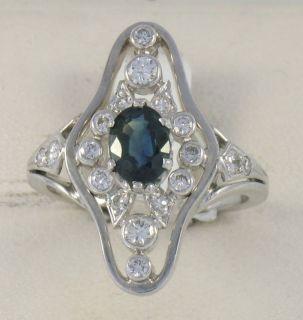 14k White Gold Diamond Sapphire Elongated Ladies Ring