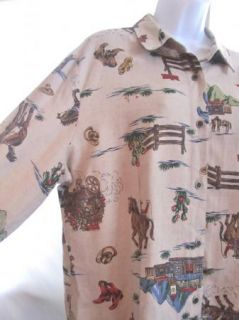 Sz XL New Frontier Clothing Shirt Western Cowboy Horses Stagecoach