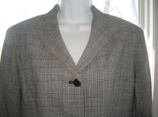 Sz 12 Lauren Ralph Lauren Petite Blazer Jacket Houndstooth Plaid Navy