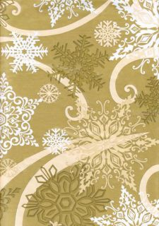 Snowflake Gold White Vinyl Tablecloth Winter Christmas Design Flannel