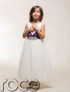 Girls Ivory Purple Diamante Wedding Christening Flower Girl Bridesmaid