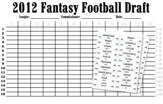 2012 Fantasy Football Print at Home Kit Draft Board Printable Labels