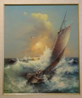 Eugene Garins Original Storming Seascape Oil Painting