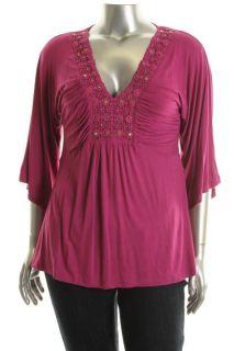 Dana Pink Crochet Ruched Embellished Angel Sleeve Tunic Top L