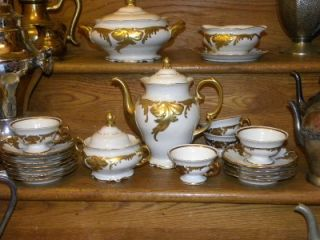 Vintage Embossed Heavy Gold Porcelain China Dinnerware Set Wakbrzych