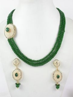 Faux Emerald 3 line with White Bead Indian Gold Tone Necklace Set