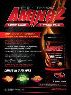 Myogenix AmiNO2 Amino Acids + Nitric Oxide + BCAAs PRE POST INTRA