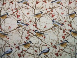 Timeless Treasures Chickadee Branch Fall Autumn Fabric