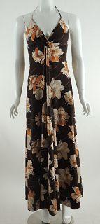 Vintage Estevez Sexy Brown Floral Print Jersey Halter Maxi Dress 6 70