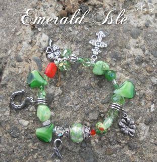 St Patricks Day Lucky Charm Crystal Glass Neurofibromatosis Bracelet