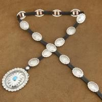 Navajo J Emerson Turquoise Silver Concho Leather Belt