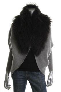 Famous Catalog Moda New Gray Faux Fur Collar Hook Closure Dolman
