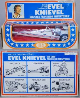 Evel Knievel 1977 Ideal MIB Die Cast Dragster Salesman Sample