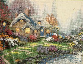 Thomas Kinkade Everetts Cottage Flower Gardens Counted Cross Stitch
