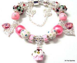 Cupcake Swarovski Heart Child Girls Charm European Bracelet