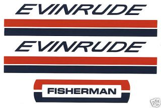 Evinrude Outboard Hood Decals 4 6 HP 1960s Fisherman