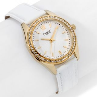 172 731 caravelle bulova ladies round white leather strap watch note