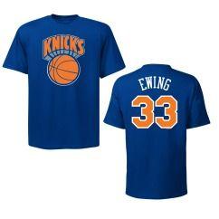 New York Knicks Patrick Ewing Blue Name and Number NBA T Shirt