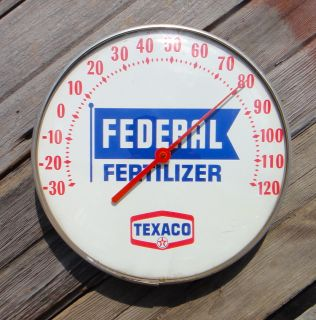Federal Fertilizer Round Glass Front Thermometer Farm Service Sign