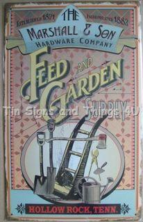 Tin Sign Farming Farm Tool Seed Vtg Metal Wall Decor Ad OHW