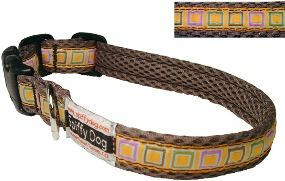 Spiffy Dog Tan Squares Pet Dog Collar Size Small 7 18