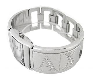 Armani Exchange AX3118 Silver Rectangle Dial Silver Metal Womens