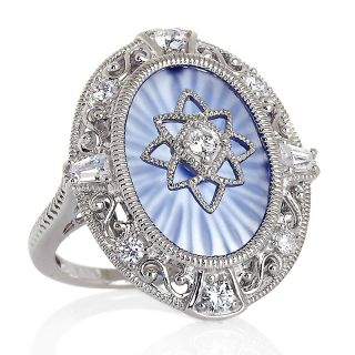 183 474 absolute oval blue frosted crystal sterling silver oval ring
