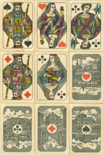 ANTIQUE German WUST Playing Cards FRANKFURT scenic ACES   c1890