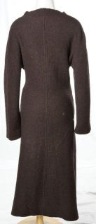 Eva Tralala Paris Expresso Brown Wool Cozy Belted Trench Sweater Sz M