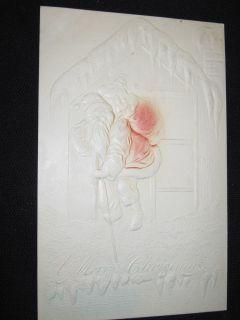 Embossed Santa Christmas Card Embossed 1908 1 Cent Ben Franklin Stamp