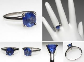 Natural Blue Sapphire Solitaire Engagement Ring Solid Platinum