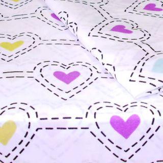 3pc Stencil Hearts Extra Long Twin Sheet Set Heart Bedding Deep Pocket