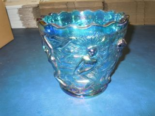 Fenton Limited Edition Blue Carnival Glass Mermaid Vase 49 of 250 7