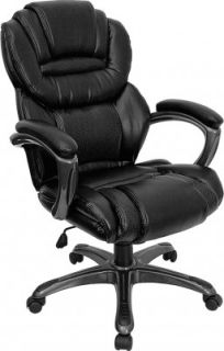 flash furniture black leather executive office chair with padded loop