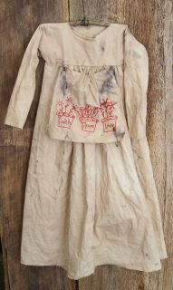 Primitive Grungy Doll Dress Muslin Prairie Dress Stitched Faith Hope