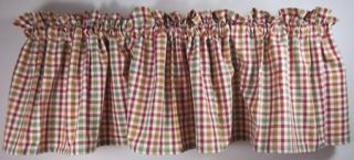 Country Red Ivory Mustard Sage Green Plaid Picket Fence Valance 72x14