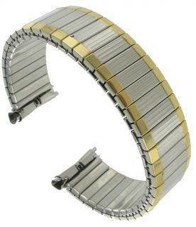 Speidel Watch Band 16 19mm Two Tone #7 Curved Expansion Mens