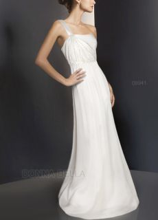 Fab One Shoulder 8 Chiffon Evening Party Gown Maxi Long Pleated Off