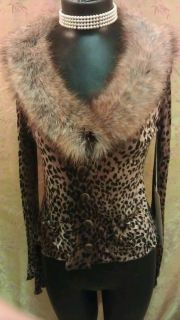 Anthropologie Ann Ferriday Exclusive Animal Print with Fur Collar LAST