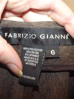 Fabrizio Gianni Size 6 Womens Brown Front Zip No Pocket Unlined Pants