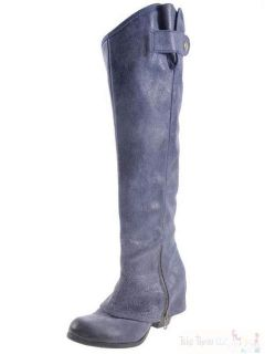 New Fergie Blue Gray Ledger Too Leather Riding Boots Tall Knee High