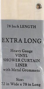 Extra Long Size Vinyl Shower Curtain Liner 72 Wide x 78 Long Clear