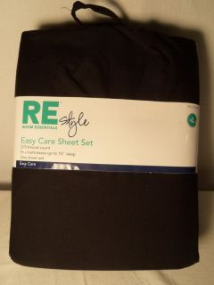 New Room Essentials Black Extra Long Twin Sheet Set