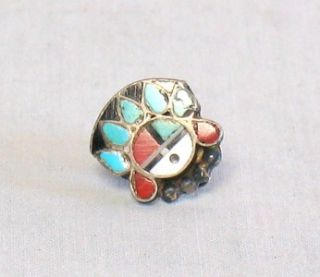 Vtg Old Zuni Turquoise & Red Sun face Inlay With Headdress Brooch Pin