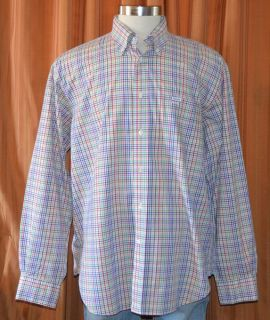 Faconnable Long Sleeve Purple Red Pink White Cotton Checkered Shirt