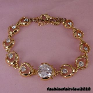 18K Yellow Gold GP A Row of White Swarovski Crystal Ladybug Bracelet